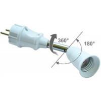 Ecola переходник вилка-патрон E27 на шарнире 360°/180° 45мм без выключателя Белый APF7TWEAY