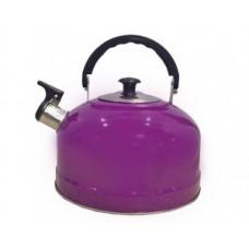 Чайник металлический со свистком (0,3мм) IRH-402, 2,5л (полезный объем 2л)ручка пластик подвижн, фиолетовый