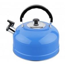 Чайник металлический со свистком (0,3мм) IRH-422, 2,5л (полезный объем 2л) ручка пластик подвижн, голубой