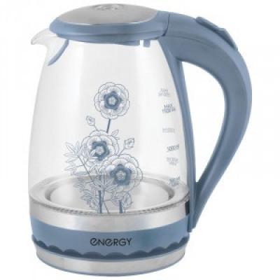 Чайник электрический Energy E-279 син. цветы (диск, 1,5л) 2,2кВт, стекло/пластик 164084