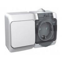 Schneider Этюд блок (розетка 16А + 1 кл. выключатель 10А) ОУ бел. (земля, шторки, крышка, IP44) BPA16-241B