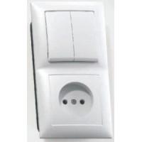 Кунцево-Электро СЕЛЕНА блок комб. (1роз+2кл. выключатель ) СУ бел. АБС-пластик БКВР-409
