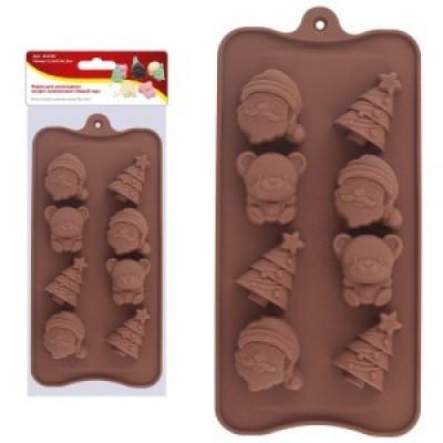 """Кулинарная форма для шоколадных конфет """"Новый Год"""" силикон, арт.VL2-92 Мультидом"""