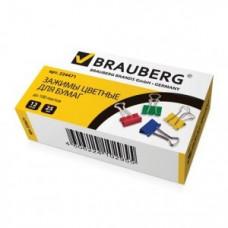 Зажимы для бумаг BRAUBERG, компл. 12 шт., 25 мм, на 100 л., цветные, в картонной коробке, 224471