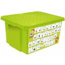 Детский ящик для хранения игрушек Обучайка Азбука/Play&amp-Learn 17л салатовый LA10230БСЛ Little Angel