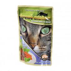 Ночной охотник Консервированный корм для кошек (пакет дой-пак), Мясные кусочки в ЖЕЛЕ, ТЕЛЯТИНА И ЯГНЕНОК 100 грамм