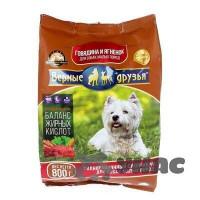 Верные друзья Корм сухой для собак маленьких и карликовых пород пакет 800г Говядина и ягненок