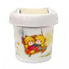 Детская мусорная корзина круглая 1л Bears слоновая кость LA1054 Little Angel