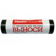 """Мешки для мусора 200л/10шт, 25мк, ПВД, рулон, черные, """"ВЫНОСИ"""" 60358 MasterHouse"""