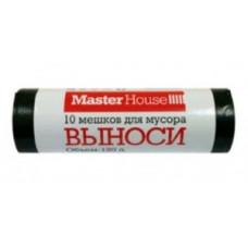 """Мешки для мусора 120л/10шт, 25мк, ПВД, рулон, черные, """"ВЫНОСИ"""" 60356 MasterHouse"""