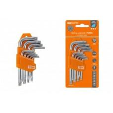 TDM Алмаз набор ключей типа «TORX» с отверстием, 9 шт. Т10-Т50, держатель в блист. SQ1021-0102