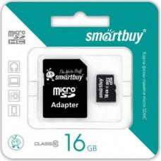 Ф/к MicroSDHC 16GB Class10 SmartBuy с адаптером