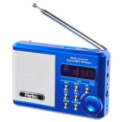 Радиоприемник Perfeo Sound Ranger, УКВ,акк.1000mAh,220V,USB,microSD,дисплей, синий (SV922BLU)