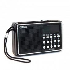 "Радиоприемник ""Сигнал РП-221"", FM - 88-108 Мгц, 2xR6, 220V, USB, SD, дисплей, 114х33х73 мм, черный"