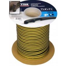Уплотнитель E-профиль 9*4мм TYTAN (Титан) 150м (2*75м) черный резиновый самокл., арт.91515