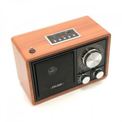 Радиоприемник БЗРП РП-329, УКВ(64-108 MHz)/СВ,USB,microSD,Bluetooth,220V/R20х3,светлый,21х12,х14 см.