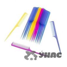 Расческа NA672 (цена за 20шт) пластиковая цветн с хвост.
