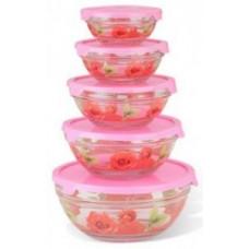 Набор салатников с крышками 5 шт. GLSA-5-004 (0,15/0,25/0,35/0,5/1л) стекло, красные, IRIT