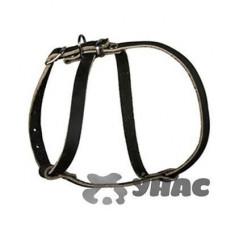"""Шлейка кожаная """"Восьмёрка"""" малая для собак, ширина 15 мм, шея 26-33 см, грудь 33-45 см1015201"""