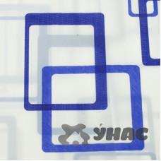 Шторы для ванной 183*183см белая с синими квадратами пластик G-3-5