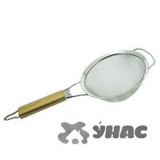 Сито 18см с нерж сеткой с дер ручкой NA016