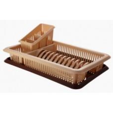 Сушилка для посуды и приборов 1 ярус с поддоном Лилия, беж/коричн, пластик ПЦ1562 Plastic Centre