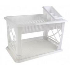 Сушилка для посуды и приборов 2 яруса с поддоном Лилия, мрамор, пластик ПЦ1558МР Plastic Centre