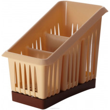 Сушилка для столовых приборов 3х-секц. Лилия, беж/коричн, пластик ПЦ1564БЖКЧ Plastic Centre