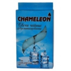 Свеча в гильзе цвет. аромат. Голубой лед 6шт/уп, цена за уп, Chameleon, арт.С 00-55