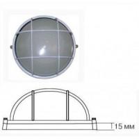 Camelion 1301S светильник влагозащит. IP54 60W E27 круг с реш белый (170x75) основание 15мм