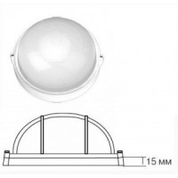 Camelion 1302S светильник влагозащит. IP54 60W E27 круг без реш белый (170x75) основание 15мм