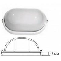 Camelion 1402S светильник влагозащит. IP54 60W E27 овал без реш белый (205x100x80) основание 15мм