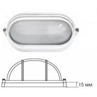 Camelion 1404S светильник влагозащ. IP54 60W E27 овал реснички белый (205x100x80) основание 15мм