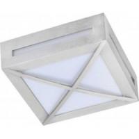 Ecola 3083W светильник матов.квадр.решет.металл.сатин-хром P65 1*GX53 136х136х55 FS53SGECH