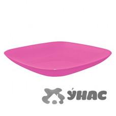 Тарелка 190*190*28 т. розовый АЛЕАНА