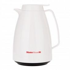 Термокувшин MasterHouse Турин стекл. колба/пластик, кнопка-дозатор, 1л, белый, арт.60485
