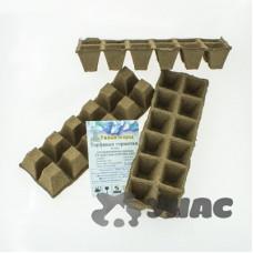 Торфяные горшочки 50*50 мм, квадратные, блок 12 ячеек