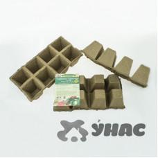 Торфяные горшочки 70*70 мм, квадратные. Блок 8 ячеек