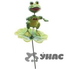 Штекер садовый Лягушка на листе на пружинке NA1492